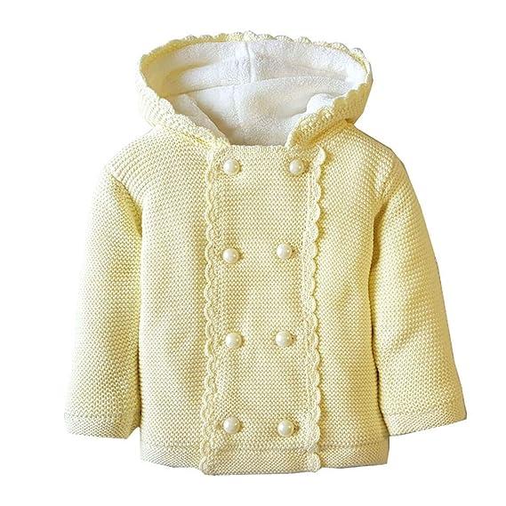 Gugavivid Abrigo suéter de Punto de Color sólido para bebés ...