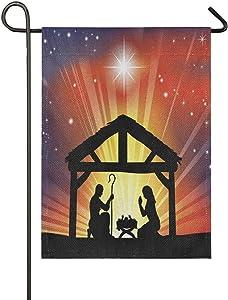 ALAZA Christian Christmas Nativity Scene Burlap Garden Flag Double Sided,Christmas House Yard Flags,Holiday Seasonal Outdoor Decorative Flag 28x40 Gift