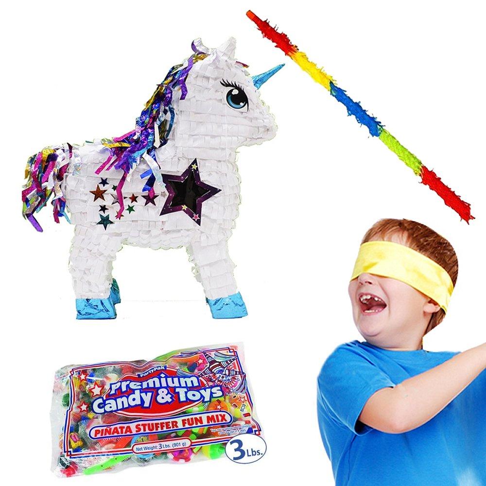 Pinatas White Unicorn Kit Including, 3 Lbs. Filler, Buster Stick and Bandana