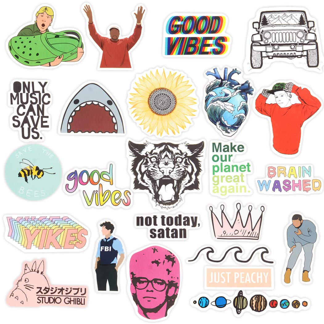 Stickers for Water Bottles,Laptop Sticker,19 PCS Waterproof Vinyl Decal Sticker for Phone,MacBook,Luggage,Cars,Bicycles,Travel Case,Motorcycle,Snowboard,PS4,Xbox ONE (Colorful)