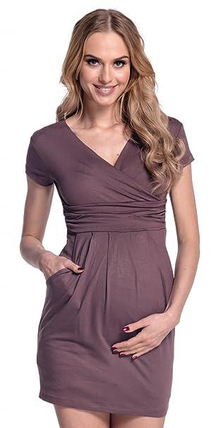 Donna. Abito elasticizzato prémaman elegante vestito con tasca. 806p   Amazon.it  Abbigliamento d2146bcadbf