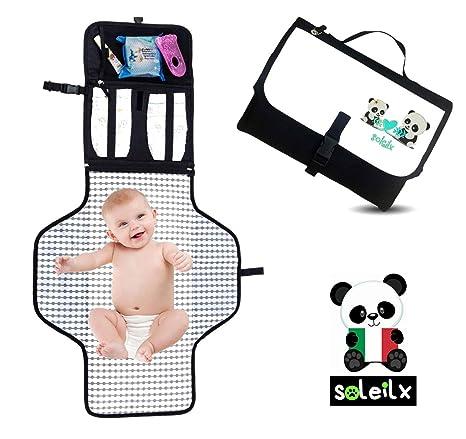 Cambiador Portátil Plegable Acolchado [Panda diseño 2019] Idea regalo Bolsa recién nacido organizador de viaje con colchón Ideal para el cambio de ...