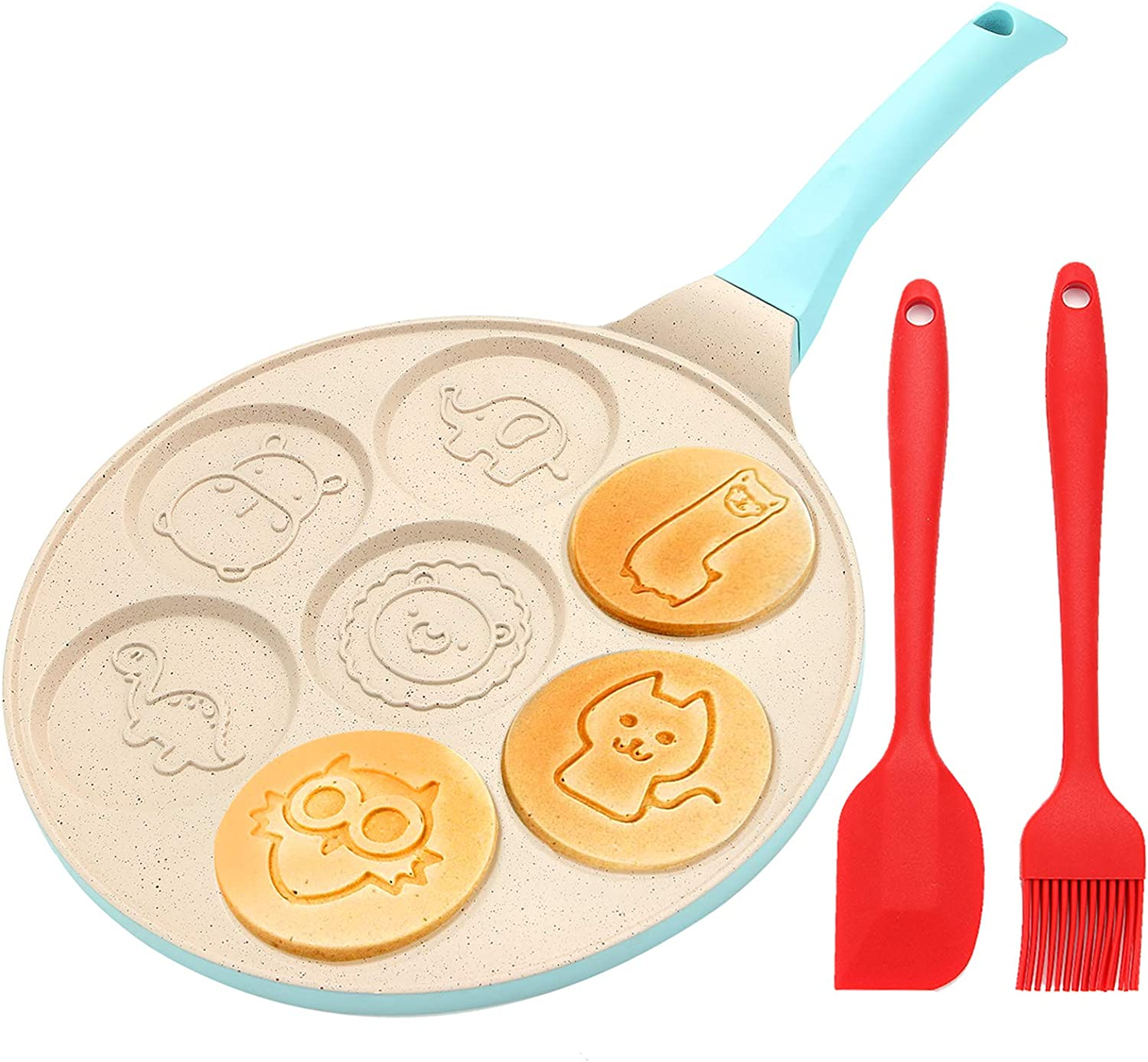 Kids Pancake Maker Pan, 7-Cup Animal Pancake Mold, Nonstick Grill Pan, Mini Blini Pancakes Mold for Children, 10 Inch, With Silicone spatula & Silicone Brush