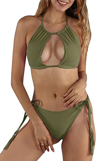 1a1e0d17ad6f9 Amazon.com: SySea Womens Sexy Thong Triangle Brazilian Bikini Set Plain  Solid Push up Swimsuits 2 Piece Bathing Suits: Clothing