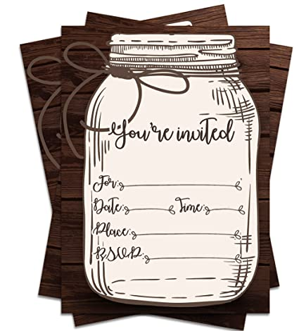 25 Rustic Country Mason Jar Youre Invited 5x7 Printed Party Invitations With Envelopes