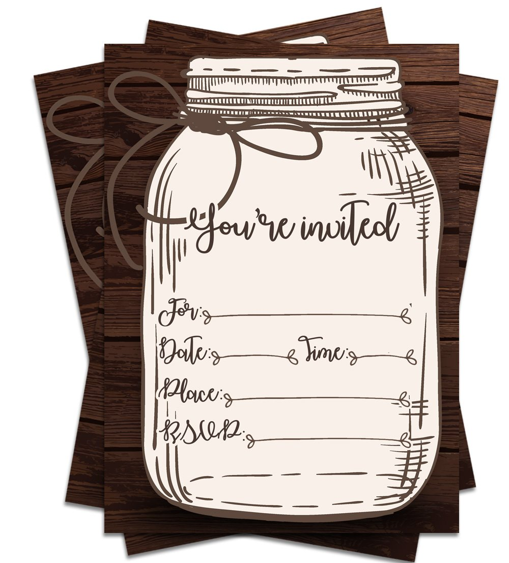 25 Rustic Country Mason Jar You're Invited 5x7 Printed Party Invitations with Envelopes