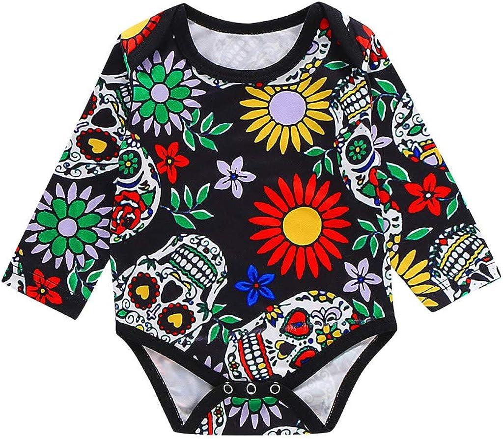 Body de Halloween para bebés niñas y niños con Estampado de Flores y Calaveras Bodies Mono Manga Larga recién Nacido Disfraz