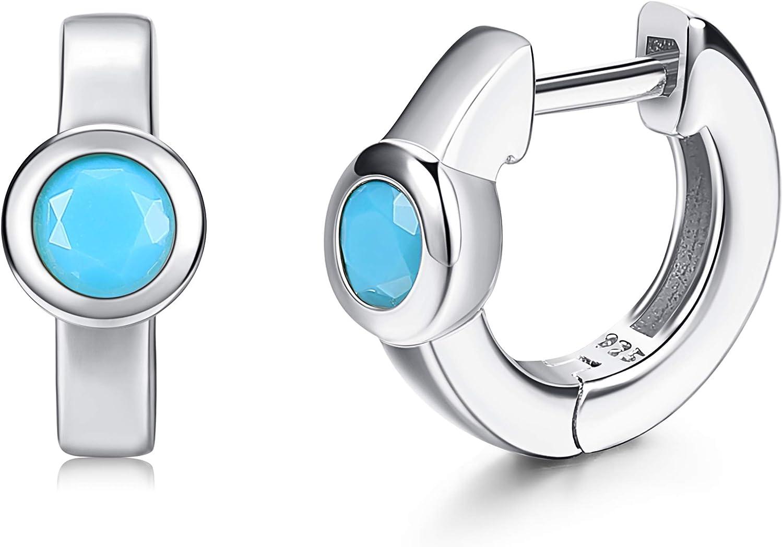 Turquoise earrings; open hoops 92.5 sterling silver