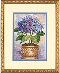 Dimensions Gold Collection Counted Cross Stitch Kit, Hydrangea in Bloom, 18 Count Ivory Aida, 5'' x 7''