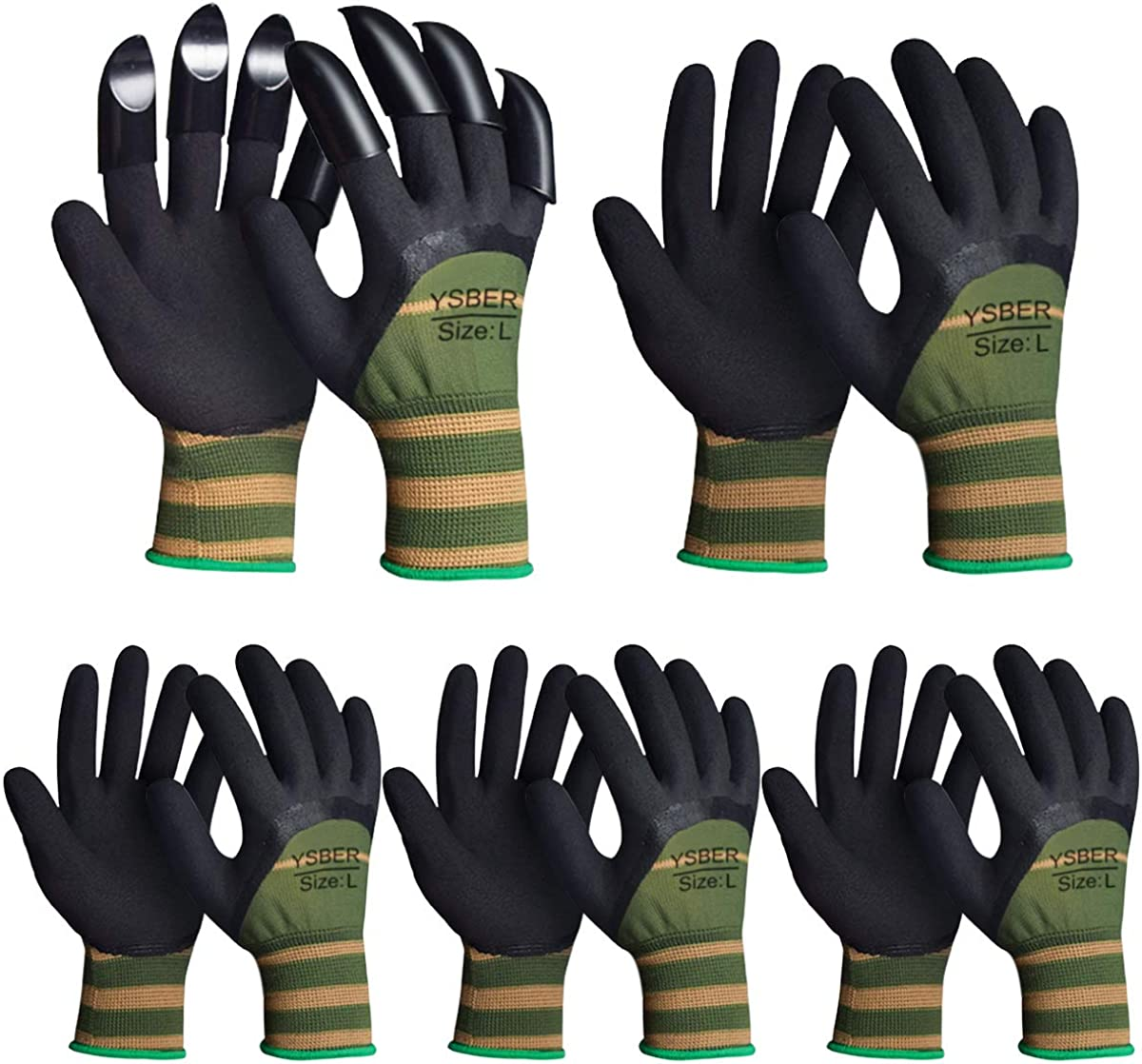 5 Pairs Garden Gloves for Women and Men ,Work Gloves with 8 Claws for Outdoor