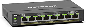 NETGEAR 8 Port PoE Gigabit Ethernet Plus Switch (GS308EPP) - with 8 x PoE+ @ 123W, Desktop/Wall Mount