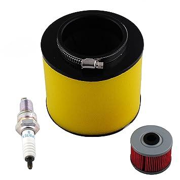 Podoy trx350fe TRX350TE Filtro de aire con filtro de aceite para bujías para Honda trx350fm trx350fm Rancher 2000 - 2006: Amazon.es: Coche y moto