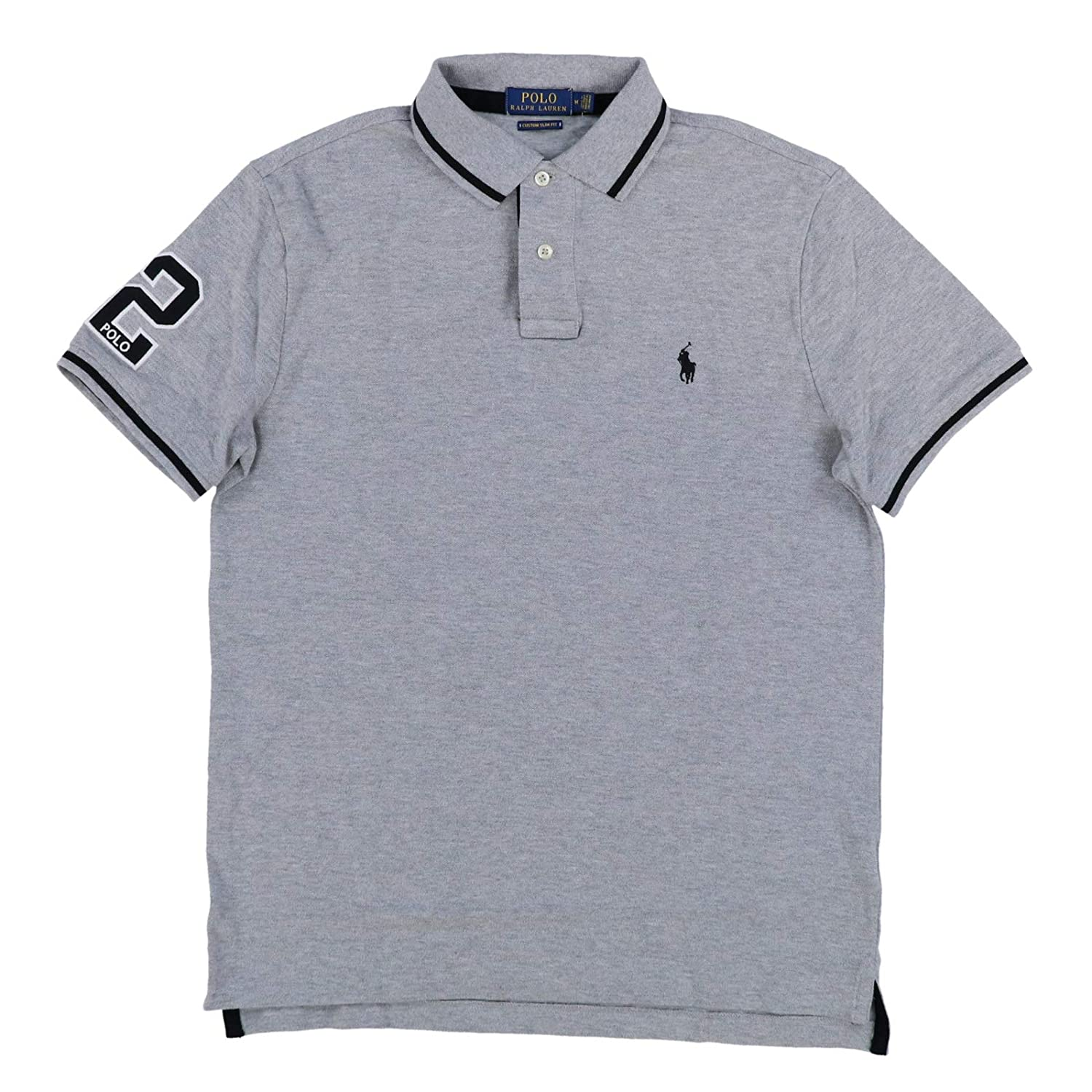 Polo Ralph Lauren Mens Custom Slim Fit Mesh Striped Collar Polo Shirt