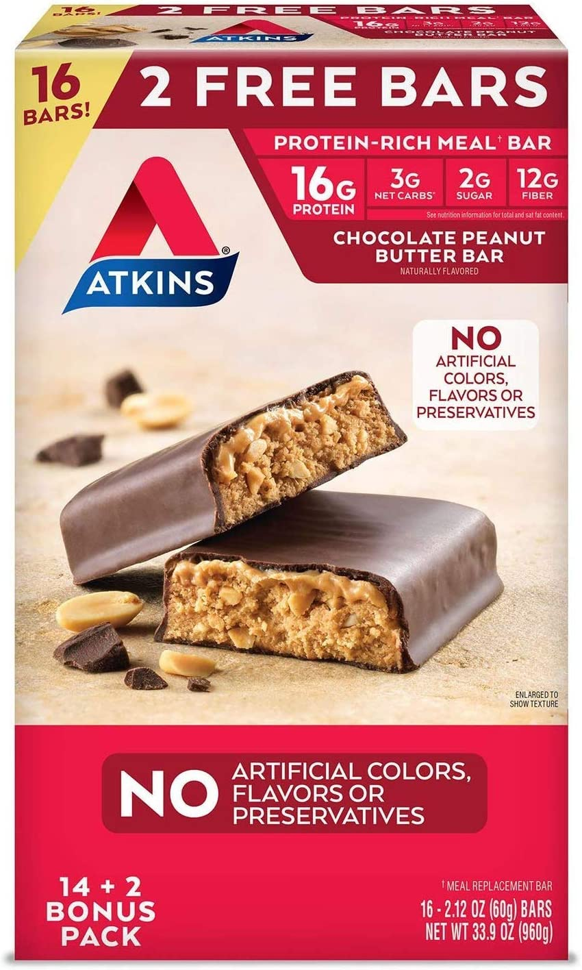 Atkins Protein-Rich Meal Bar, 16ct Chocolate Peanut Butter, 2.12 Ounce 16 Count