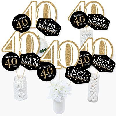 Adult 40th Birthday - Gold - Birthday Party Centerpiece Sticks - Table Toppers - Set of 15: Health & Personal Care