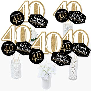 product image for Adult 40th Birthday - Gold - Birthday Party Centerpiece Sticks - Table Toppers - Set of 15