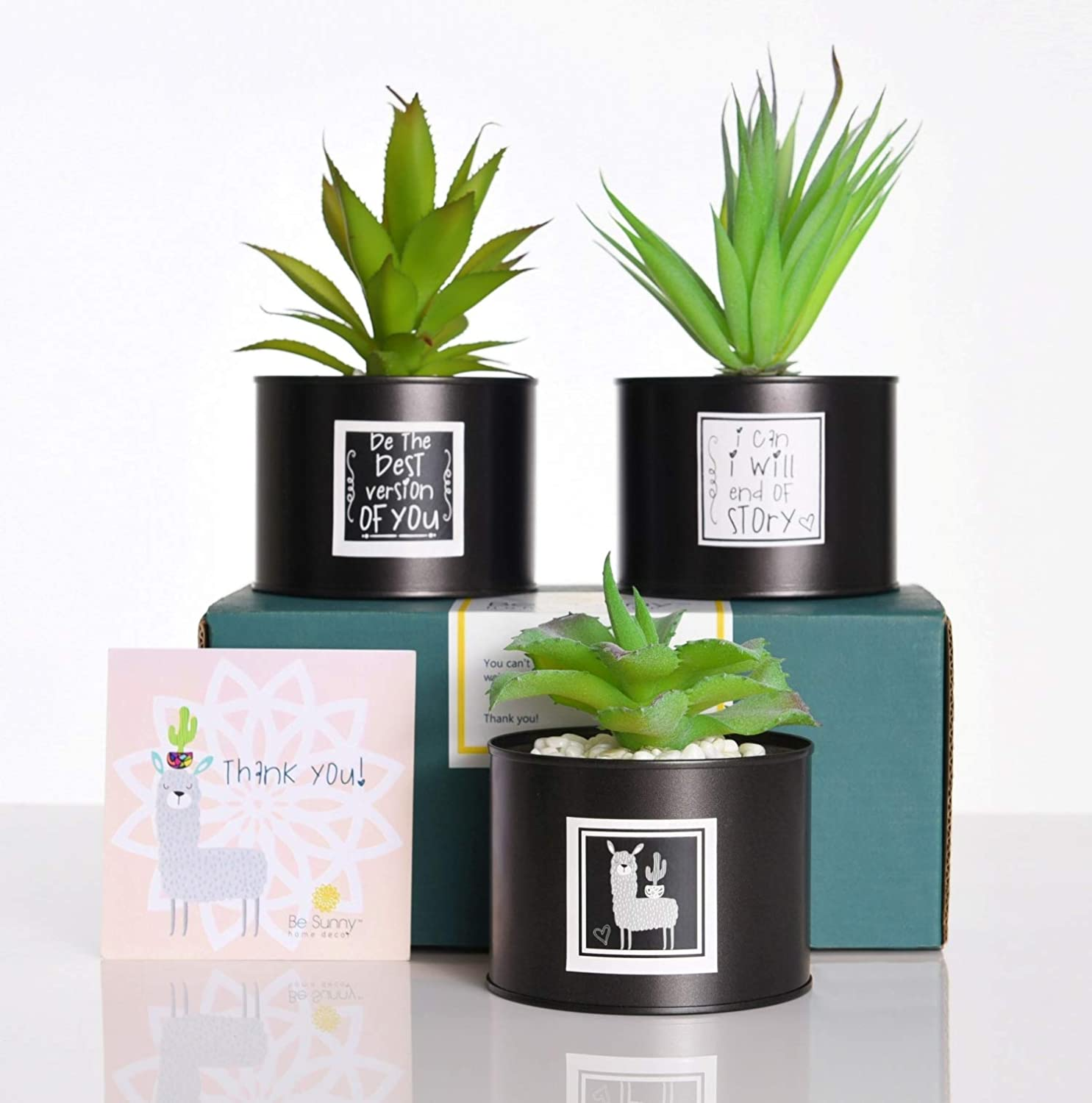 Be Sunny Artificial Plants Cactus Decorations - Set of 3 Fake Succulent in Black Luxury Metal Pots - Llama Label and Inspirational Signs Included - Desk Decorations for Women Office and Home Decor
