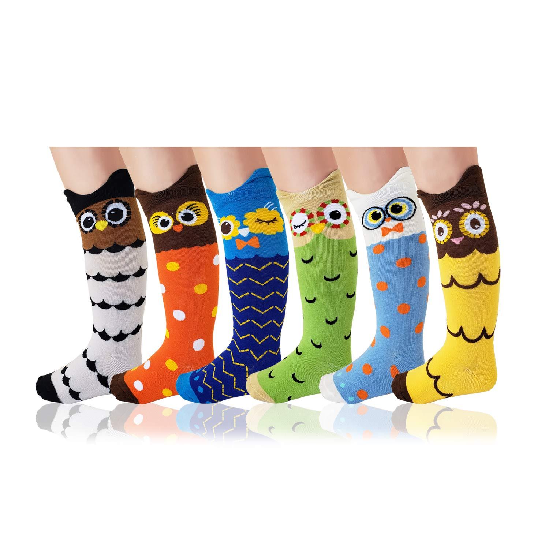 3-12Y Deer Mum Kids Boys Girls Cute Owl Pattern Cotton Knee High Long Socks
