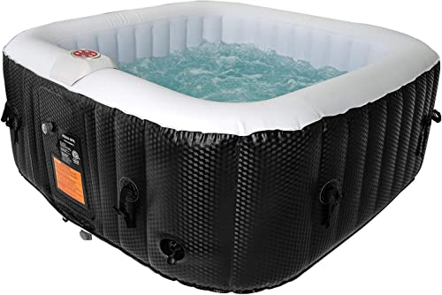 AquaSpa Portable Hot Tub 61X61X26 Inch Air Jet Spa 2-3 Person Inflatable Square Outdoor Heated Hot Tub Spa