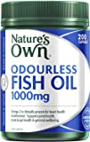 Nature's Own Odourless Fish Oil 1000mg - Source of Omega-3 - Maintains Wellbeing - Supports Healthy Heart and Brain, 200 Capsules