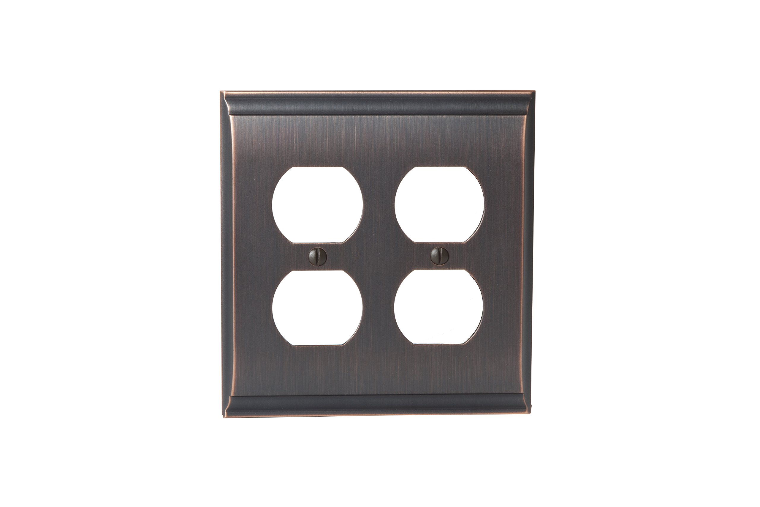 Amerock BP36509ORB Candler 2 Receptacle Wall Plate - Oil-Rubbed Bronze