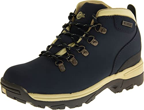 Navy Blue Leather Walking Hiking Boots