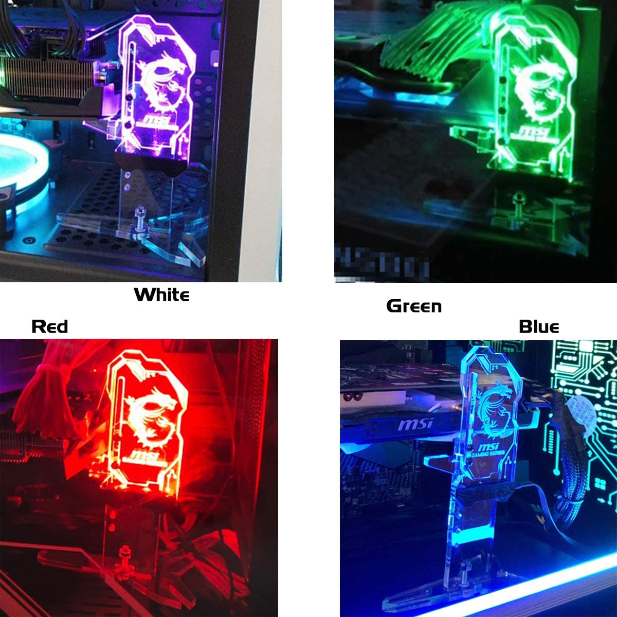 Yosy Standing RGB Graphics Card Holder GPU Brace Support 12V Aura SYNC Customizable Universal Acrylic Video Card Sag Holder GPU Bracket with Remote Control