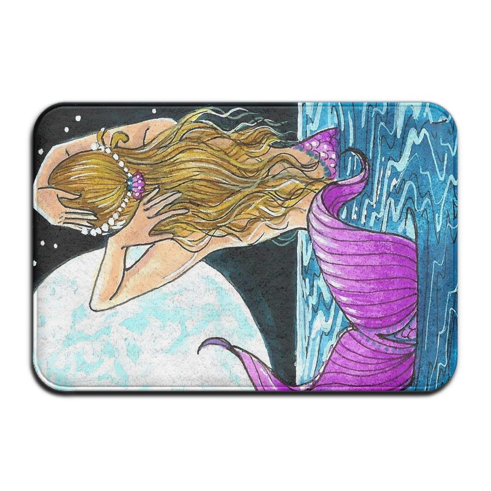 BINGO BAG Mermaid Paintings Indoor Outdoor Entrance Printed Rug Floor Mats Shoe Scraper Doormat For Bathroom, Kitchen, Balcony, Etc 16 X 24 Inch