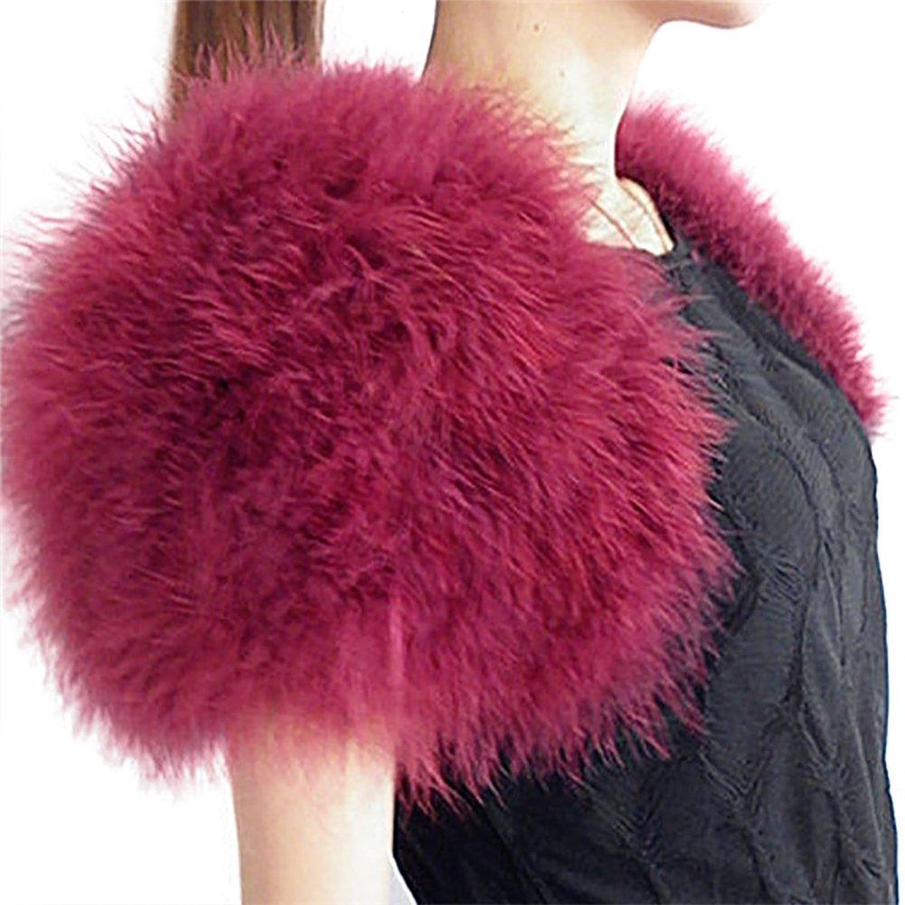 PATTONJIOE Short Ostrich Fur Wrap Shawl for Bridal Wedding Dress