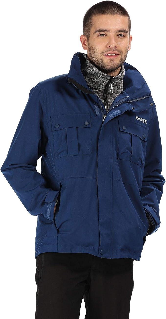 Regatta Men's Northton Iii Waterproof & Breathable Concealed Hooded 3-in-1 Jacket with Marl Fleece Inner,Regatta
