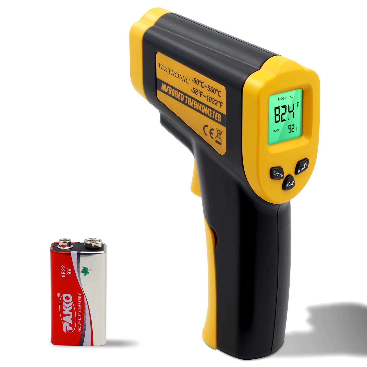 Tektronic IT380 Infrared Non-Contact Thermometer, -50°C~550°C (-58°F~1022°F) Built-in Laser Battery Powered - CE & RoHs Approved