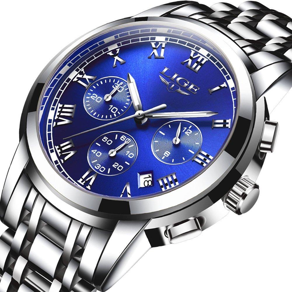 Men's Watches,Stainless Steel Band Waterproof Quartz Watch, LIGE Luxury Business Analog Chronograph Date Wrist Watch