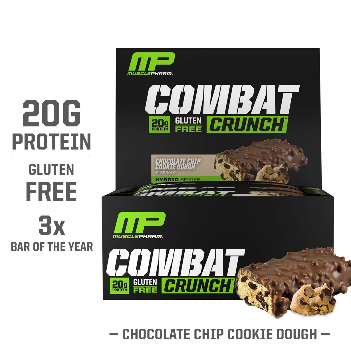MusclePharm Combat Crunch Protein Bar, Multi-Layered Baked Bar, Gluten-Free Bars, 20 g Protein, Low-Sugar, Low-Carb, Gluten-Free, Chocolate Chip Cookie Dough Bars, 12 Servings by Muscle Pharm