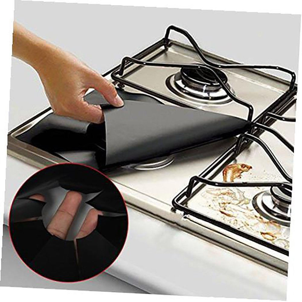 Denshine Double Thickness Gas Range Protectors, Reusable Stovetop Burner Line Covers Non-stick Protectors for Gas Stove Easy to Clean, Cuttable, Dishwasher Safe, Heat Safe –Black (4 Pack)