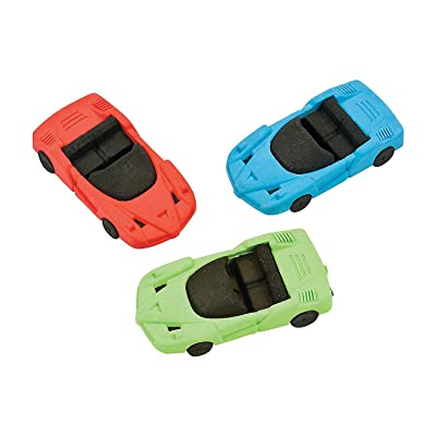Fun Express - Race Car Erasers - Stationery - Pencil Accessories - Erasers - 12 Pieces: Toys & Games