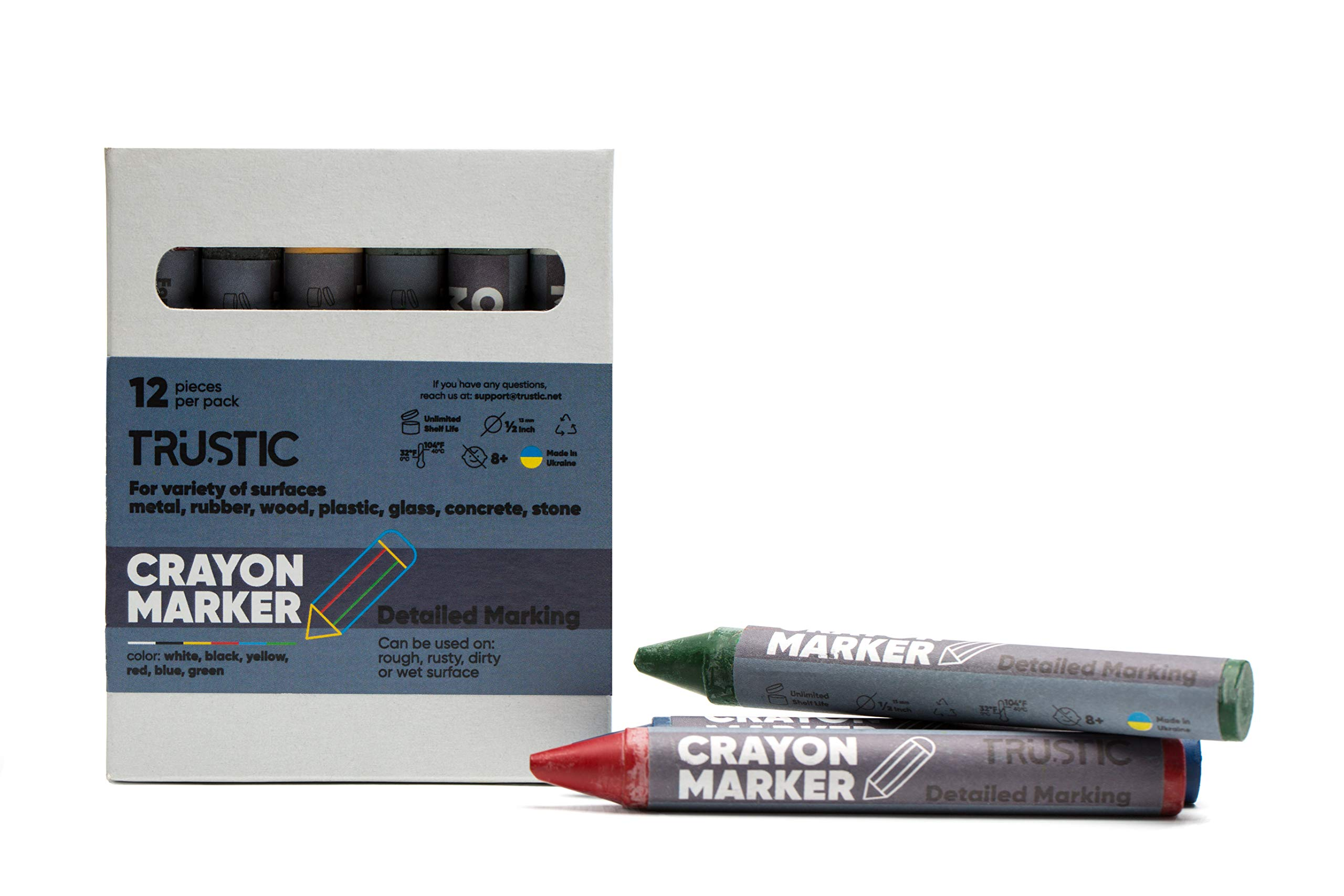 Trustic Crayon Wax Marker for Ambient Surface Detailed Marking on Wood Metal Carton Ceramics Concrete Glass Plastic Tire, Pack of 12 - Multicolor(2 each, White, Yellow, Black, Green, Red, Blue)