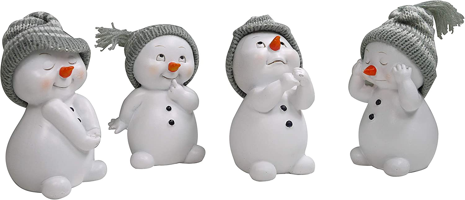khevga Set of 4 Christmas Decoration Decoration Figures Snowman White