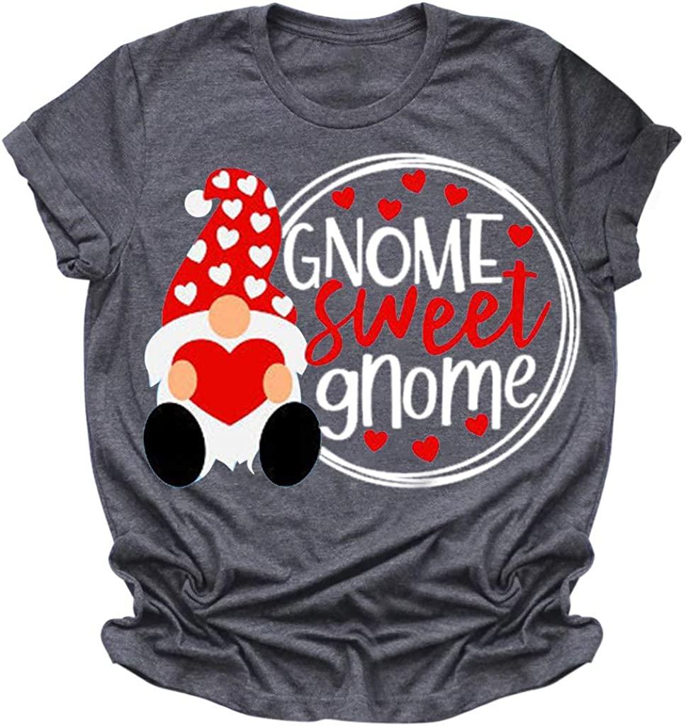 Eoeth GNOME Sweet Letter Print T-Shirts,Women Valentine's Day Short Sleeve O-Neck Tops Tee Tunic Blouse Shirts Pullover