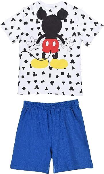 Disney Pigiama Bambino Mickey Mouse T-Shirt e Pantaloncino in Cotone Stampa 0917