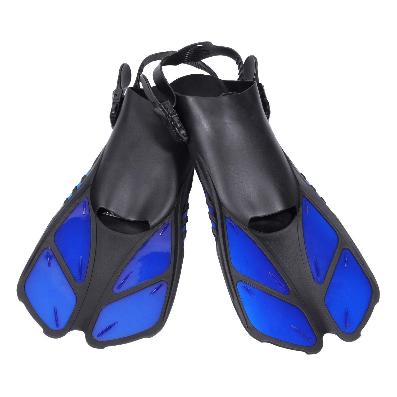 CAPAS Snorkel Fins, Snorkeling Fins Swim Fin Short Adjustable Diving Fins for Adult Men Womens Kids Scuba Diving Swimming Duck Feet Swim Travel Open Heel Flippers Snorkelling Fins (Blue, S/M)