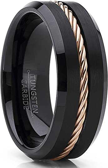 Promise Rings for Him Mens Wedding Band Brushed Unique Rings Men Black Tungsten Wedding Ring Tungsten Carbide Ring Rose Gold Rope