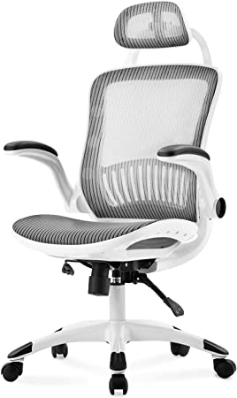 Xueliee High-Back Mesh Office Chair Ergonomic Swivel Chair with Adjustable Headrest /& Armrest