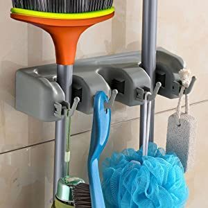 SHSYCER Mop and Broom Holder Wall Mounted Garden Storage Rack 3 positions with 4 hooks garage Holds up to 7 Tools For Garage Garden Kitchen Laundry Offices