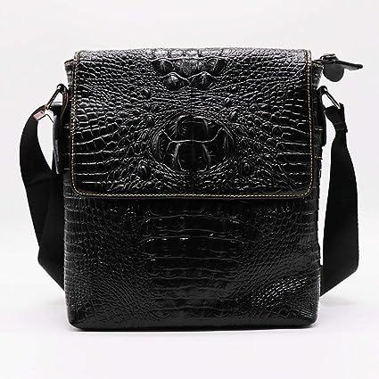 9cfb9dea480 Amazon.com: 2019 New Fashion Alligator Genuine Cow Leather Vintage Men's  Messenger Bag Cross Body Shoulder Bags Casual&Business Zipper Pack For Ipad  (Black ...