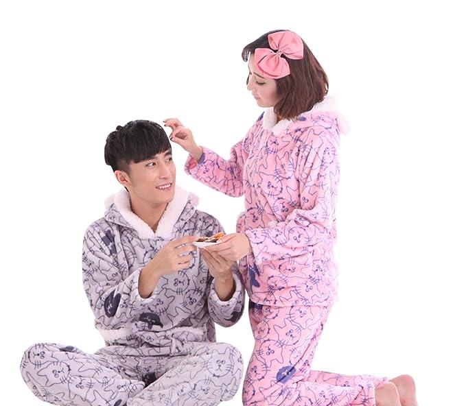 SaiDeng Parejas manga larga lindo gato impreso con capucha pijamas XX-Large Hombres