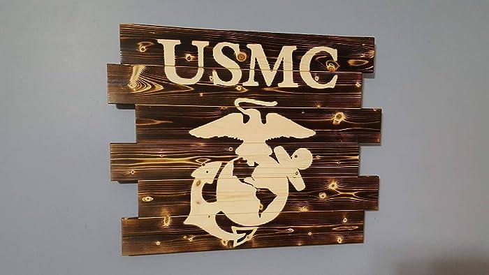 amazon com united states marine corps rustic wall art handmade
