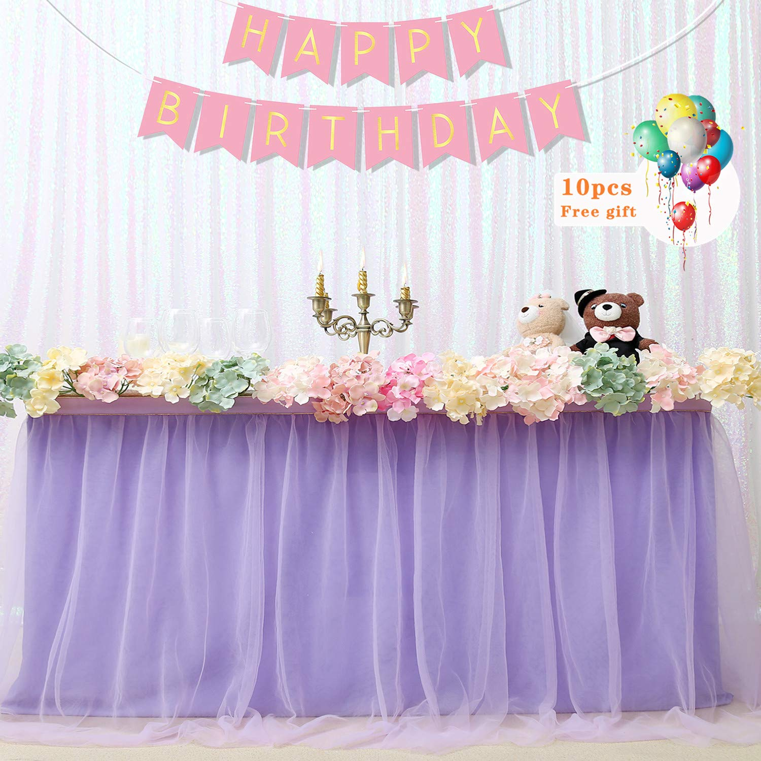 B-COOL Lovely Light purple Tulle Tutu Table Skirt 4.5 yards Tulle Table Cloth Skirt Customized Romantic Girl Princess Birthday Party Table Skirts Banquet Table Decorations(L14(ft) H 30in)