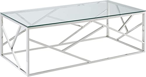 Reviewed: Amini Contemporary Stainless Steel Glass Coffee Table