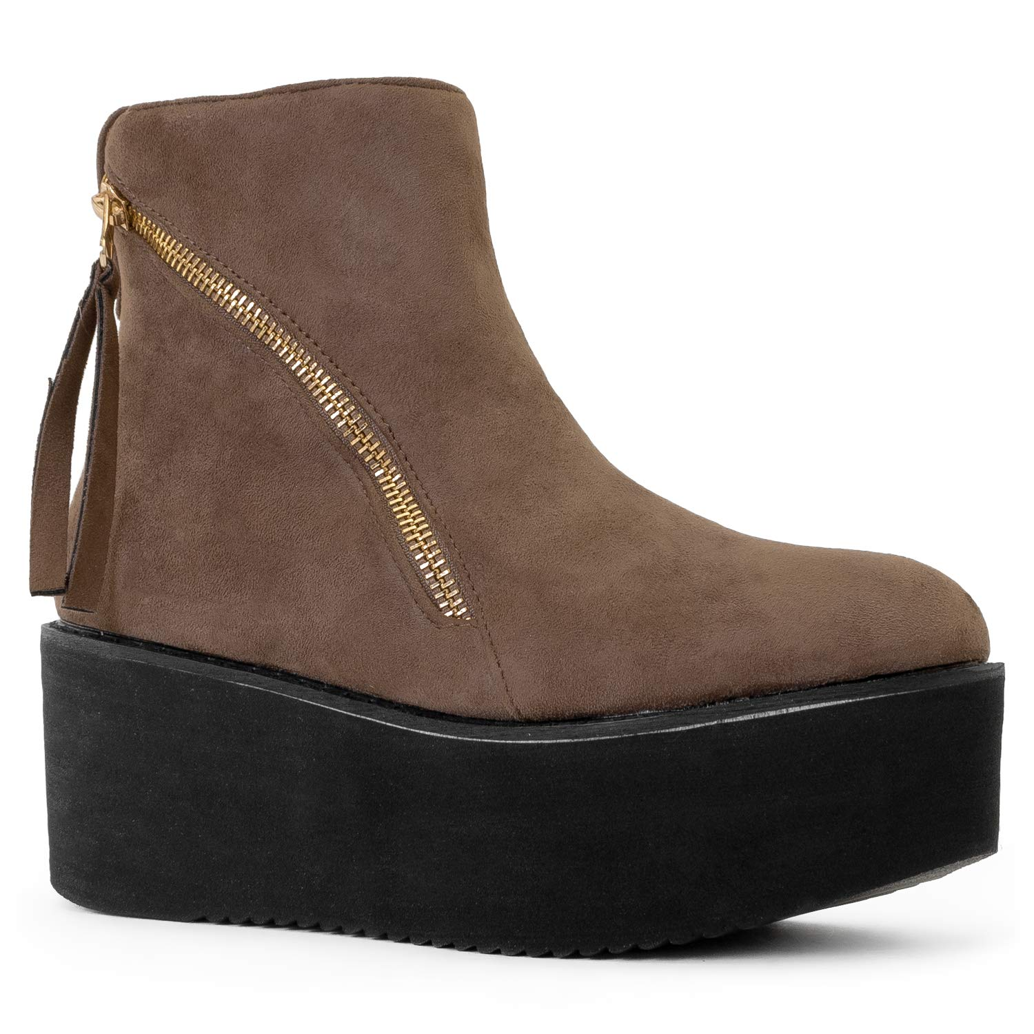 RF ROOM OF FASHION Women's Vegan Suede Slip On Creeper Lug Platform Sole Ankle Boots Taupe (6)