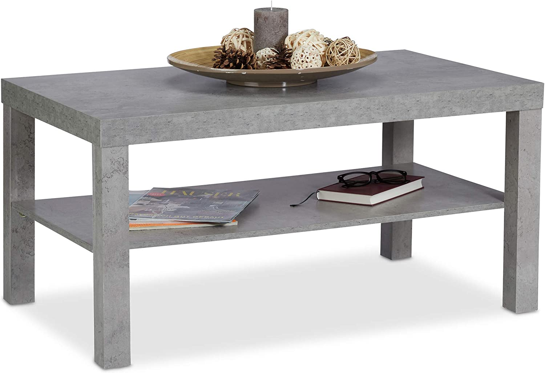 Relaxdays Couchtisch Betonoptik, mit Ablage, niedriger Tisch, für  Wohnzimmer, HxBxT 12 x 12 x 12 cm, grau